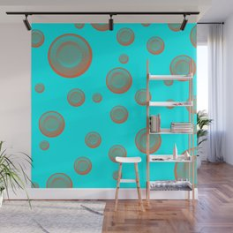Orange clay targets on a blue background Wall Mural
