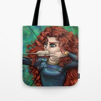 be brave Tote Bags featuring Brave by Kimberly Castello