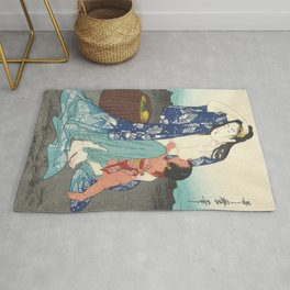 Japanese Antique Woodblock Print - Japanese Woman Breastfeeding a Toddler Rug