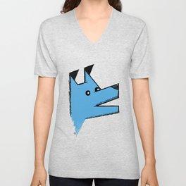 Blue Origami Dog Unisex V-Neck
