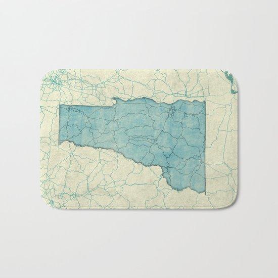 Vermont State Map Blue Vintage Bath Mat