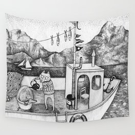 Fox on Fishing-boat Wall Tapestry