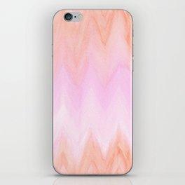 Geometric hand painted coral pink watercolor ikat chevron iPhone Skin