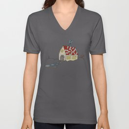 Winter Evening in Tiny Gingerbread House Unisex V-Neck