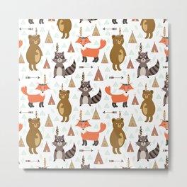 Bohemian orange brown forest animal arrows tribal pattern Metal Print