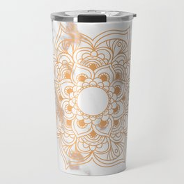Copper flower mandala - marble Travel Mug