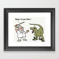 Raptor, I'm your father ! Framed Art Print