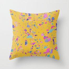 Bright Yellow Terrazzo Throw Pillow