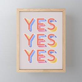 YES - typography Framed Mini Art Print