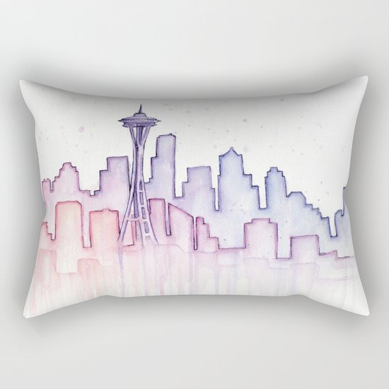 Seattle Skyline Watercolor Rectangular Pillow