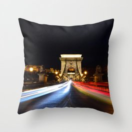 Chain bridge over Danube river, Budapest city, Hungary. Throw Pillow