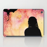 mother of dragons iPad Cases featuring Mother of Dragons Silhouette over Red + Yellow by Jessica Barst