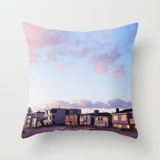 Midcentury Style Homes along the Beach, Sunset Beach, California Throw Pillow