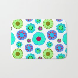 Flower Pattern-Teal Bath Mat