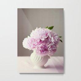 Pink Peonies in Vase Metal Print