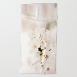 White Cherry Blossom in Forest Light Beach Towel