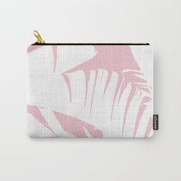 White on Pink Tropical Banana Leaves Pattern Carry-All Pouch