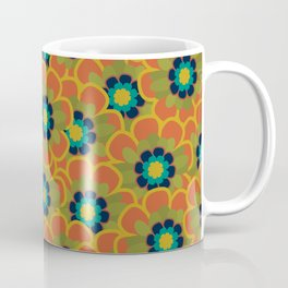 Morelia Flowers Multi Floral Pattern in Mid Mod Olive, Navy, Teal, Mustard, and Orange Coffee Mug
