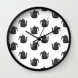 Kettle linocut black and white kitchen appliance coffee and tea water ketle Wall Clock
