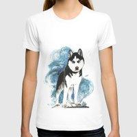 husky T-shirts featuring Siberian Husky by Cami Landia