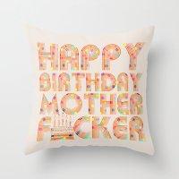 happy birthday Throw Pillows featuring Happy Birthday by Vickn