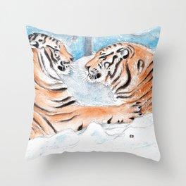 Tiger Play Throw Pillow