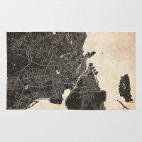 copenhagen Area & Throw Rugs featuring copenhagen map ink lines by NJ-Illustrations