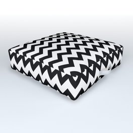 Black & White Zig Zag Pattern Outdoor Floor Cushion