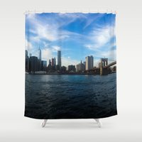 new york skyline Shower Curtains featuring New York Skyline - Color by Nicklas Gustafsson