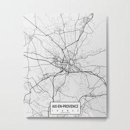 Aix-en-Provence, France City Map - Light Metal Print