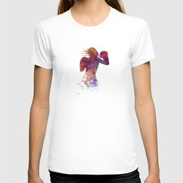 Woman boxer boxing kichbosing silhouette isolated 02 T-shirt