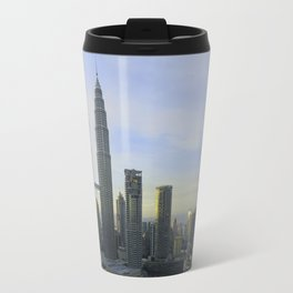 Panoramic view of the Petronas Towers in Malaysia at dusk Travel Mug