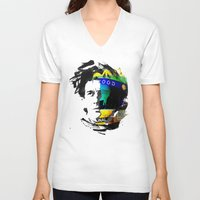 senna V-neck T-shirts featuring Ayrton Senna do Brasil - White & Color Series #4 by Universo do Sofa - Artes & Etecetera