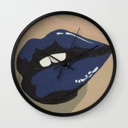 Navy Lips Wall Clock