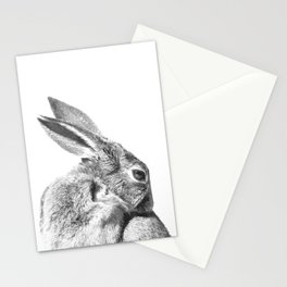 Black and white rabbit Stationery Cards