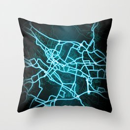 Bremen, Germany, Blue, White, Neon, Glow, City, Map Throw Pillow