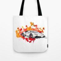 lamborghini Tote Bags featuring Lamborghini Huracan by Claeys Jelle Automotive Artwork