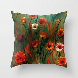 Fiery Wildflowers Throw Pillow