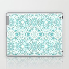 Lace Floral: Aqua Marina Ivory Laptop & iPad Skin