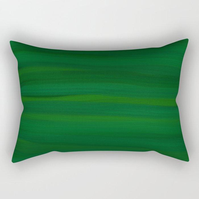 Emerald Green Stripes Abstract Rectangular Pillow
