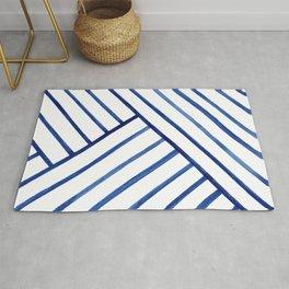 Watercolor lines pattern | Navy blue Rug