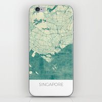 singapore iPhone & iPod Skins featuring Singapore Map Blue Vintage by City Art Posters