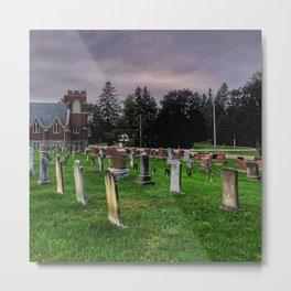 Country Church Cemetery Metal Print