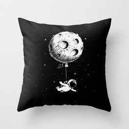 Astronaut flies with a Moon Throw Pillow
