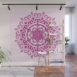 Pink Mandala on Baby Pink Background Wall Mural