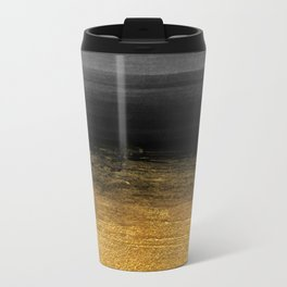 Black and Gold grunge stripes on clear white backround I - Stripes- Striped Travel Mug