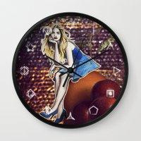 cara delevingne Wall Clocks featuring Cara Delevingne by Creadoorm