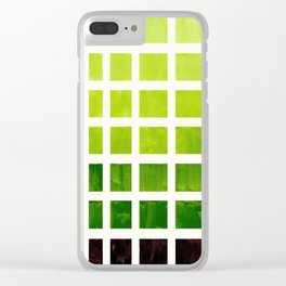Gouache Watercolor Sap Green Geometric Square Matrix Stencil Pattern Clear iPhone Case