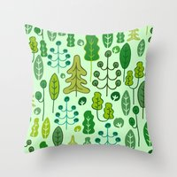 forrest Throw Pillows featuring Forrest by Holly van Who