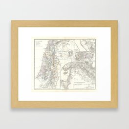 Old 1865 Historic State of Palestine Map Framed Art Print